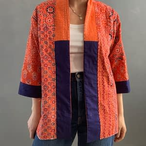 orange kantha jacket