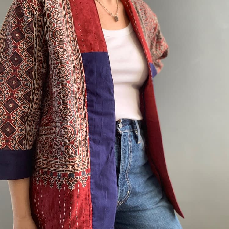 rouge kantha jacket